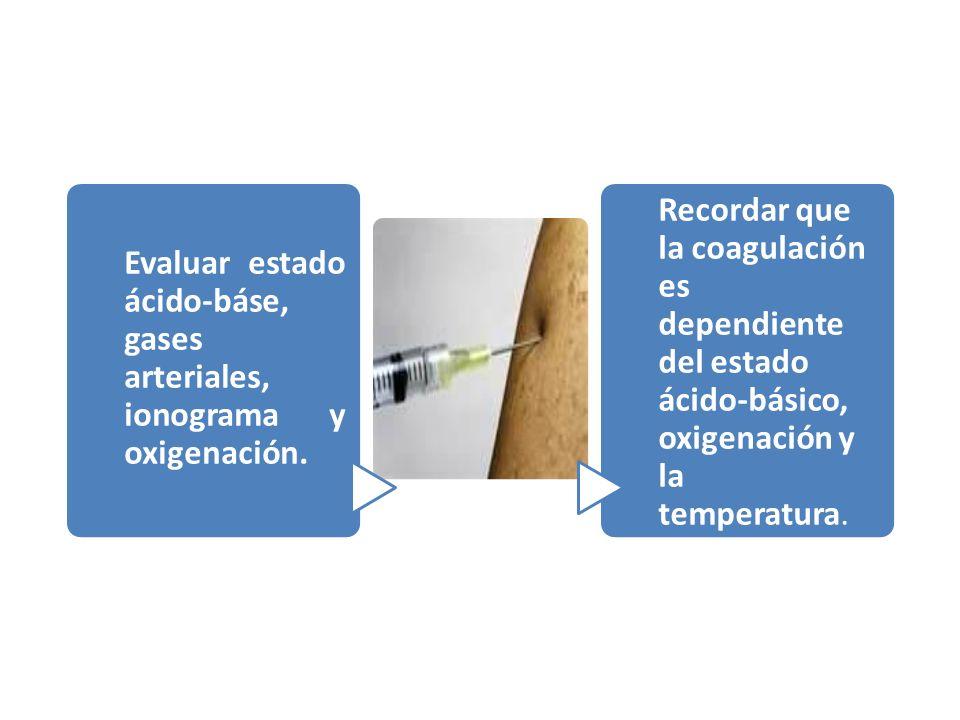 Evaluar estado ácido-báse, gases arteriales, ionograma y oxigenación. Recordar que la coagulación es dependiente del estado ácido-básico, oxigenación