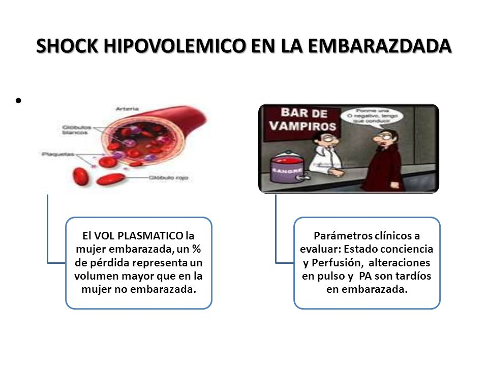 SHOCK HIPOVOLEMICO EN LA EMBARAZDADA. El VOL PLASMATICO la mujer embarazada, un % de pérdida representa un volumen mayor que en la mujer no embarazada