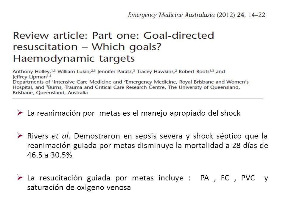 La reanimación por metas es el manejo apropiado del shock Rivers et al. Demostraron en sepsis severa y shock séptico que la reanimación guiada por met