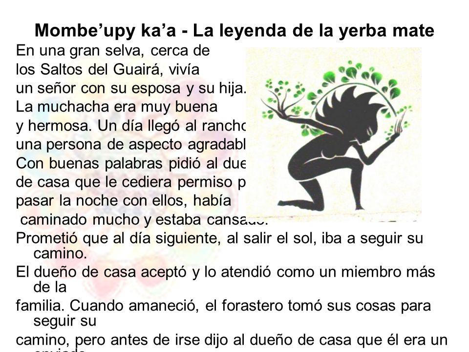 Mombeupy kaa - La leyenda de la yerba mate En una gran selva, cerca de los Saltos del Guairá, vivía un señor con su esposa y su hija. La muchacha era