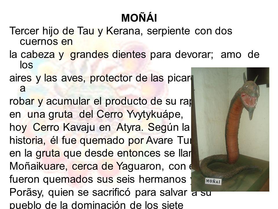 Mombeupy Tupi ha Guarani- Leyenda de Tupi y Guaraní Cada cual tenía su trabajo: los hombres pescaban, cazaban y cultivaban la tierra con experiencia innata y gran cariño; de ella sacaban el avati (maíz), de doradas espigas; los abultados y alimenticios tuberculos del jety (batata o boniato), mandl o (mandioca) y el avakachl (ananá ) que saturaban de fragancia el ambiente del kokue (chacra), el lustroso tallo del pakova (banano), que se inclinaba bajo el peso de sus cachos recargados de banana de oro,.