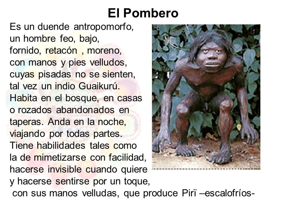 El Pombero Es un duende antropomorfo, un hombre feo, bajo, fornido, retacón, moreno, con manos y pies velludos, cuyas pisadas no se sienten, tal vez u