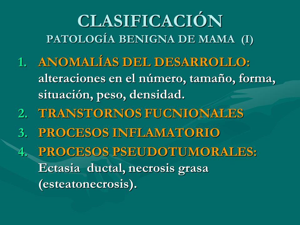 CLASIFICACIÓN PATOLOGÍA BENIGNA DE MAMA (I) 1.ANOMALÍAS DEL DESARROLLO: alteraciones en el número, tamaño, forma, situación, peso, densidad. 2.TRANSTO