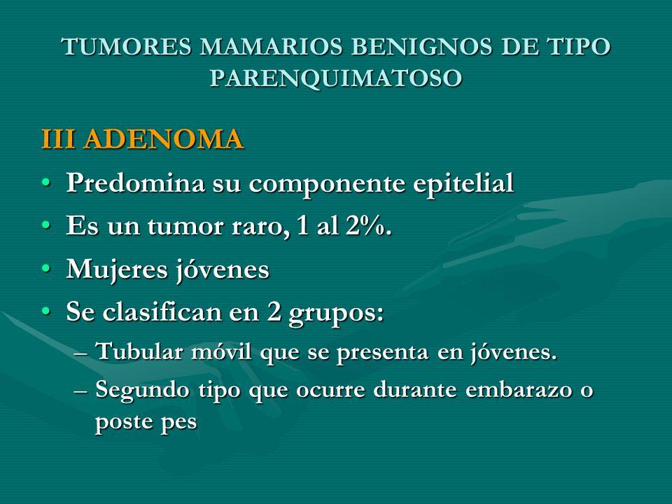 TUMORES MAMARIOS BENIGNOS DE TIPO PARENQUIMATOSO III ADENOMA Predomina su componente epitelialPredomina su componente epitelial Es un tumor raro, 1 al
