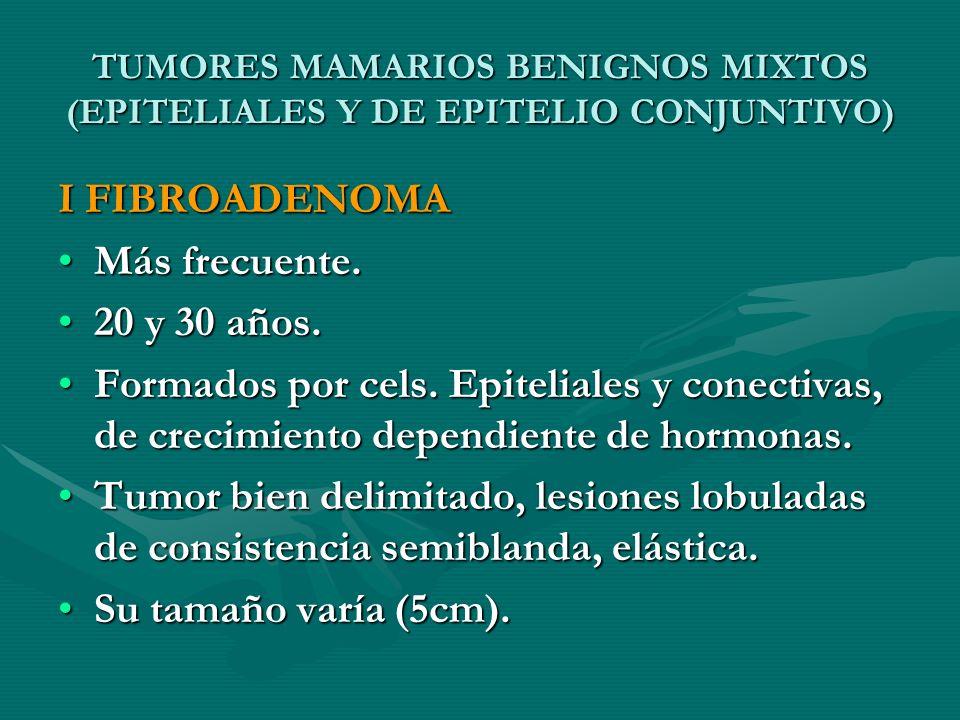 TUMORES MAMARIOS BENIGNOS MIXTOS (EPITELIALES Y DE EPITELIO CONJUNTIVO) I FIBROADENOMA Más frecuente.Más frecuente. 20 y 30 años.20 y 30 años. Formado