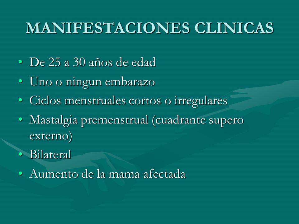 MANIFESTACIONES CLINICAS De 25 a 30 años de edadDe 25 a 30 años de edad Uno o ningun embarazoUno o ningun embarazo Ciclos menstruales cortos o irregul