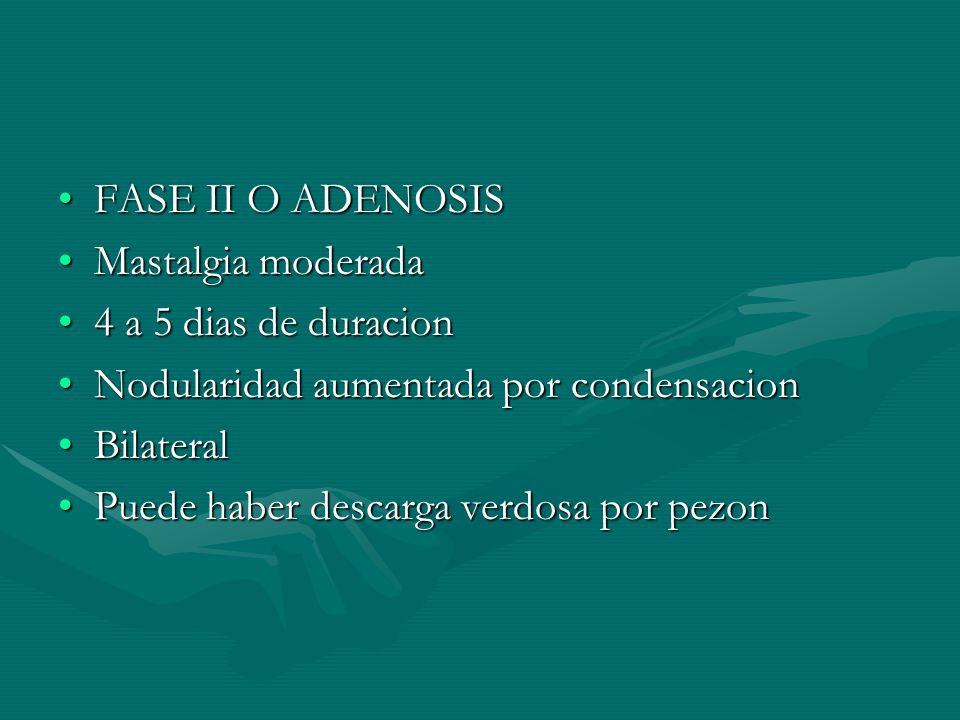 FASE II O ADENOSISFASE II O ADENOSIS Mastalgia moderadaMastalgia moderada 4 a 5 dias de duracion4 a 5 dias de duracion Nodularidad aumentada por conde