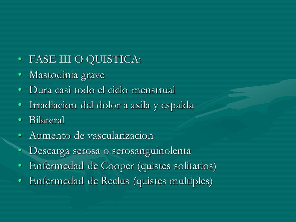 FASE III O QUISTICA:FASE III O QUISTICA: Mastodinia graveMastodinia grave Dura casi todo el ciclo menstrualDura casi todo el ciclo menstrual Irradiaci