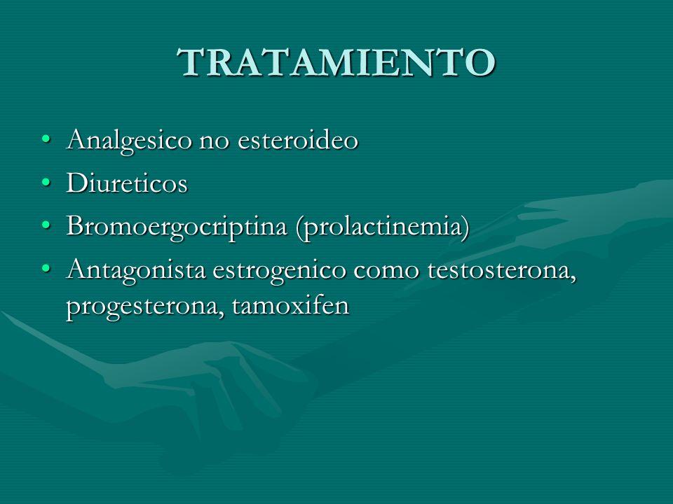 TRATAMIENTO Analgesico no esteroideoAnalgesico no esteroideo DiureticosDiureticos Bromoergocriptina (prolactinemia)Bromoergocriptina (prolactinemia) A
