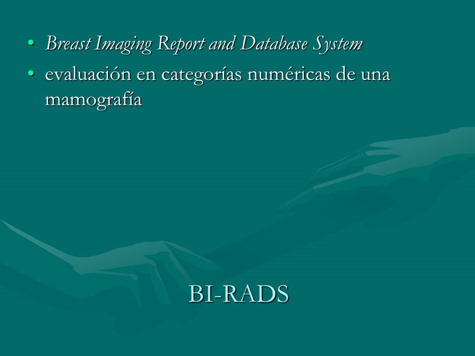 BI-RADS Breast Imaging Report and Database SystemBreast Imaging Report and Database System evaluación en categorías numéricas de una mamografíaevaluac