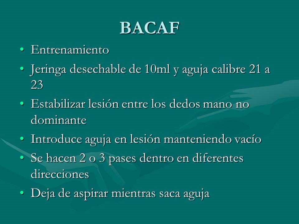 BACAF EntrenamientoEntrenamiento Jeringa desechable de 10ml y aguja calibre 21 a 23Jeringa desechable de 10ml y aguja calibre 21 a 23 Estabilizar lesi