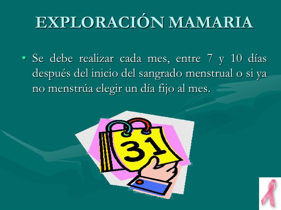 EXPLORACIÓN MAMARIA Se debe realizar cada mes, entre 7 y 10 días después del inicio del sangrado menstrual o si ya no menstrúa elegir un día fijo al m