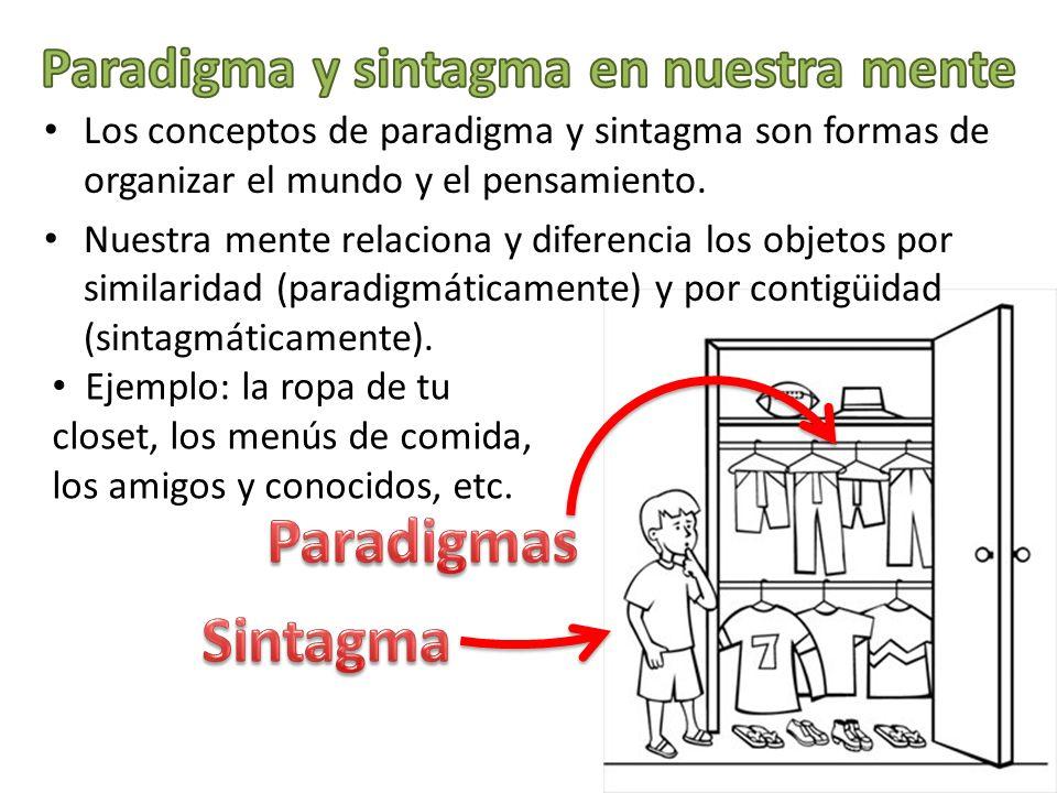 Los conceptos de paradigma y sintagma son formas de organizar el mundo y el pensamiento. Nuestra mente relaciona y diferencia los objetos por similari