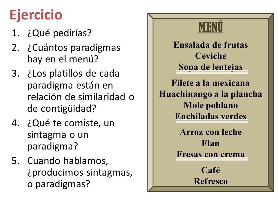 Ejercicio MENÚ Ensalada de frutas Ceviche Sopa de lentejas Filete a la mexicana Huachinango a la plancha Mole poblano Enchiladas verdes Arroz con lech