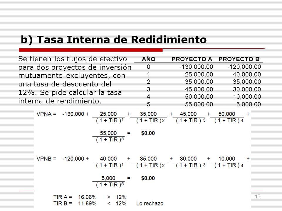 b) Tasa Interna de Redidimiento Ing. Felipe Salazar Vargas 13 AÑOPROYECTO APROYECTO B 0-130,000.00-120,000.00 125,000.0040,000.00 235,000.00 345,000.0