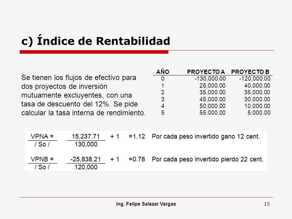 c) Índice de Rentabilidad Ing. Felipe Salazar Vargas 15 Se tienen los flujos de efectivo para dos proyectos de inversión mutuamente excluyentes, con u
