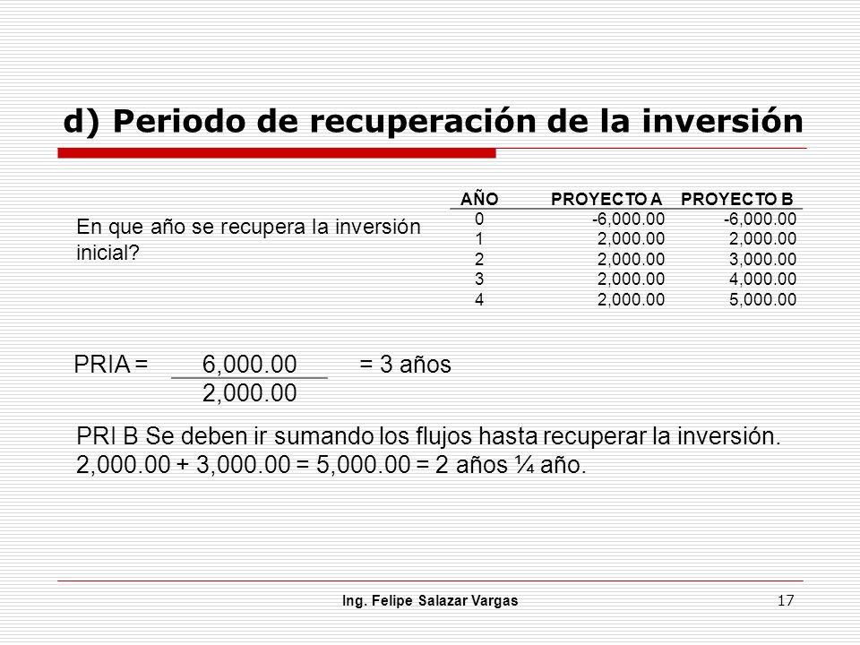 d) Periodo de recuperación de la inversión Ing. Felipe Salazar Vargas 17 AÑOPROYECTO APROYECTO B 0-6,000.00 12,000.00 2 3,000.00 32,000.004,000.00 42,