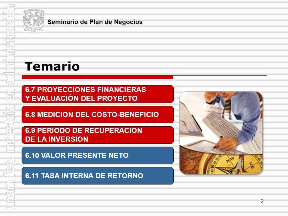 2 Temario Seminario de Plan de Negocios 6.7 PROYECCIONES FINANCIERAS Y EVALUACIÓN DEL PROYECTO 6.8 MEDICION DEL COSTO-BENEFICIO 6.9 PERIODO DE RECUPER