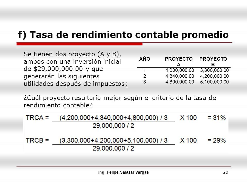 f) Tasa de rendimiento contable promedio Ing. Felipe Salazar Vargas 20 AÑOPROYECTO A PROYECTO B 14,200,000.003,300,000.00 24,340,000.004,200,000.00 34