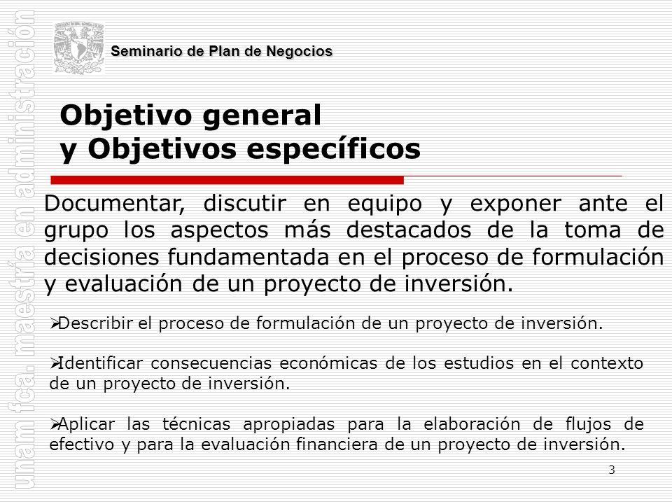 3 Objetivo general y Objetivos específicos Seminario de Plan de Negocios Documentar, discutir en equipo y exponer ante el grupo los aspectos más desta