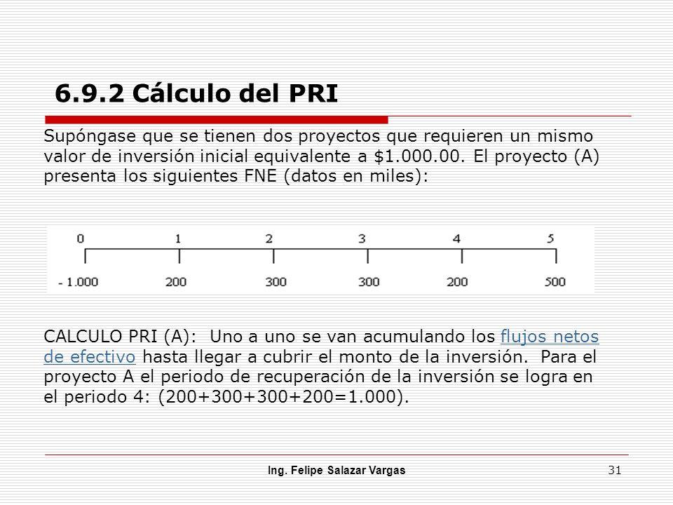 Ing. Felipe Salazar Vargas 31 6.9.2 Cálculo del PRI Supóngase que se tienen dos proyectos que requieren un mismo valor de inversión inicial equivalent