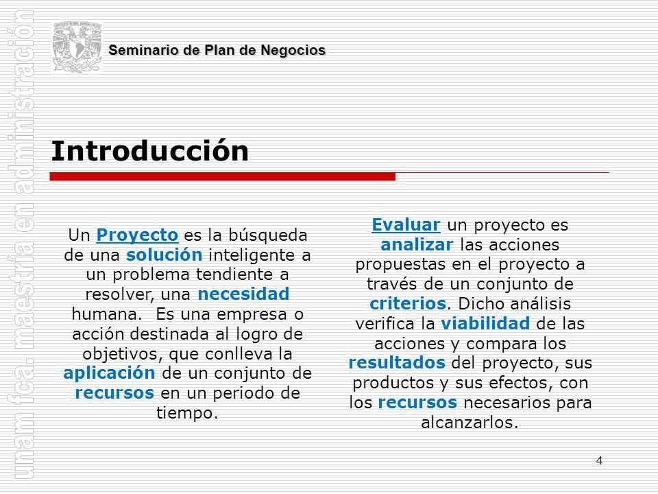 4 Introducción Seminario de Plan de Negocios Un Proyecto es la búsqueda de una solución inteligente a un problema tendiente a resolver, una necesidad