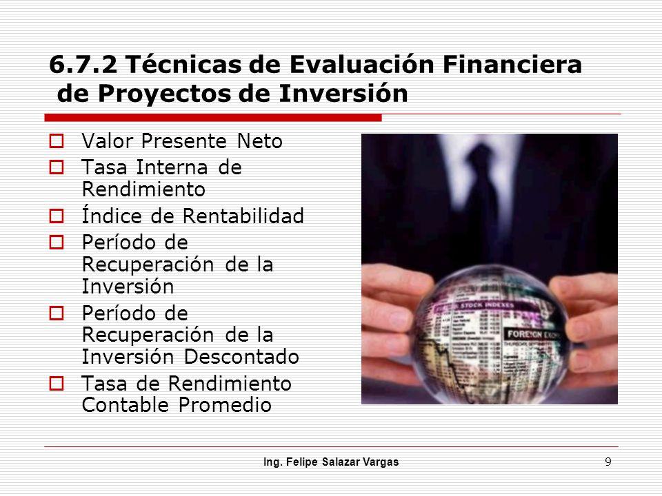 6.7.2 Técnicas de Evaluación Financiera de Proyectos de Inversión Valor Presente Neto Tasa Interna de Rendimiento Índice de Rentabilidad Período de Re