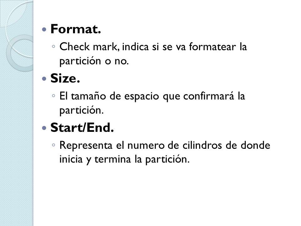 Format. Check mark, indica si se va formatear la partición o no. Size. El tamaño de espacio que confirmará la partición. Start/End. Representa el nume