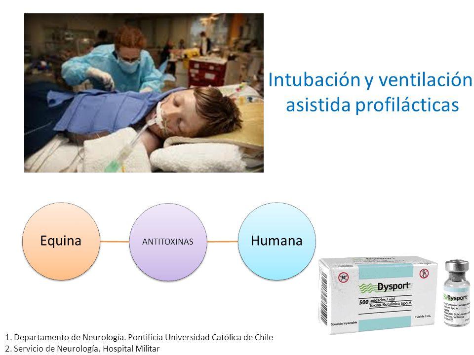 Intubación y ventilación asistida profilácticas ANTITOXINAS HumanaEquina 1. Departamento de Neurología. Pontificia Universidad Católica de Chile 2. Se