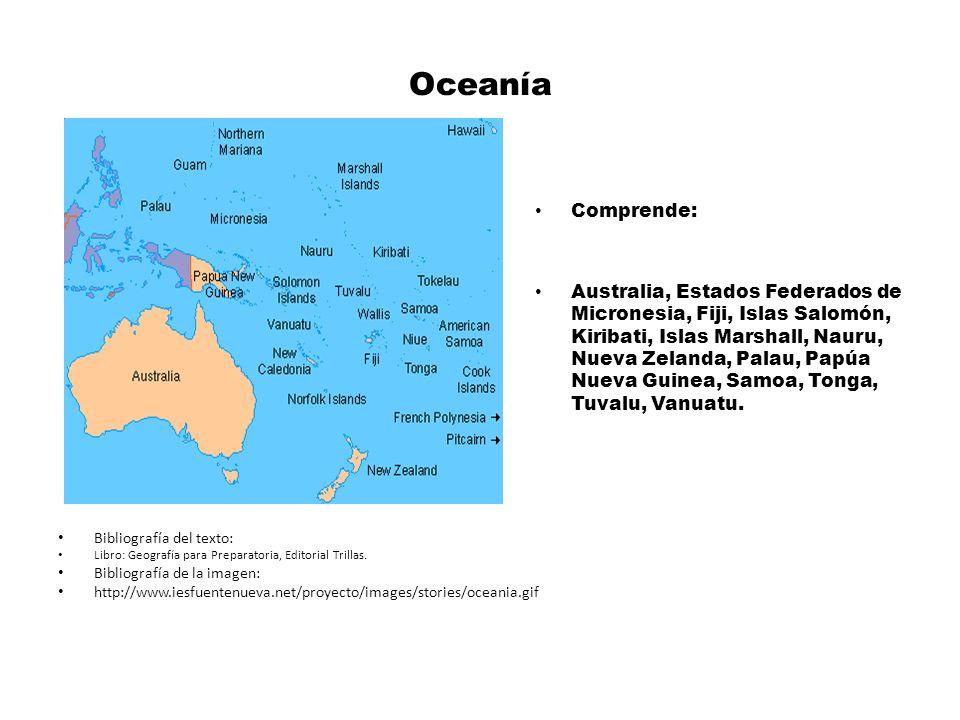 Oceanía Comprende: Australia, Estados Federados de Micronesia, Fiji, Islas Salomón, Kiribati, Islas Marshall, Nauru, Nueva Zelanda, Palau, Papúa Nueva Guinea, Samoa, Tonga, Tuvalu, Vanuatu.