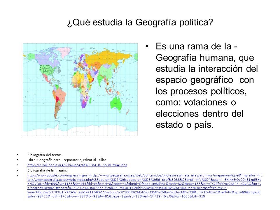 ¿Qué estudia la Geografía política.