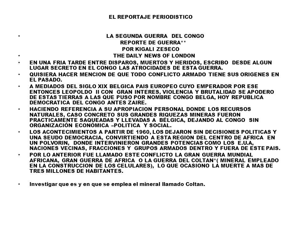 EL REPORTAJE PERIODISTICO LA SEGUNDA GUERRA DEL CONGO REPORTE DE GUERRA** POR KIGALI ZESECO THE DAILY NEWS OF LONDON EN UNA FRIA TARDE ENTRE DISPAROS, MUERTOS Y HERIDOS, ESCRIBO DESDE ALGUN LUGAR SECRETO EN EL CONGO LAS ATROCIDADES DE ESTA GUERRA.