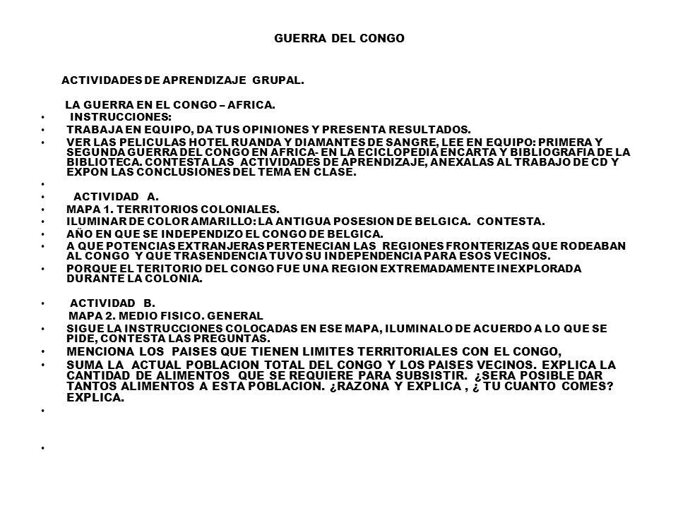 GUERRA DEL CONGO ACTIVIDADES DE APRENDIZAJE GRUPAL.