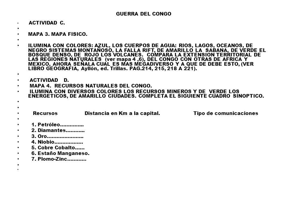 GUERRA DEL CONGO ACTIVIDAD C.MAPA 3. MAPA FISICO.