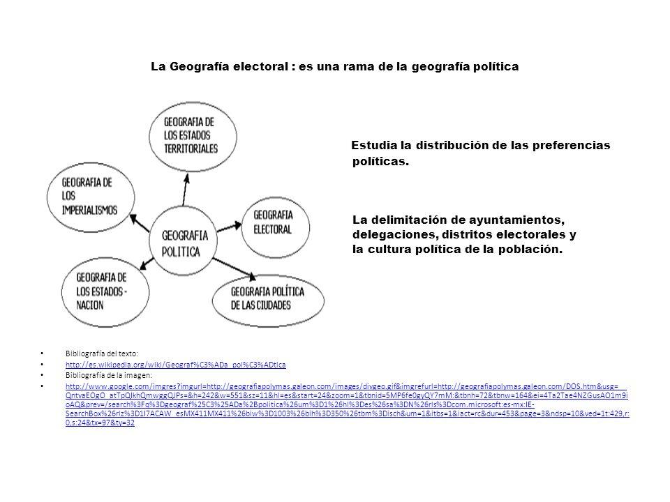 La Geografía electoral : es una rama de la geografía política Estudia la distribución de las preferencias políticas.