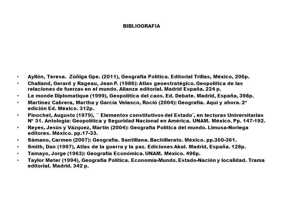 BIBLIOGRAFIA Ayllón, Teresa.Zúñiga Gpe. (2011), Geografía Política.