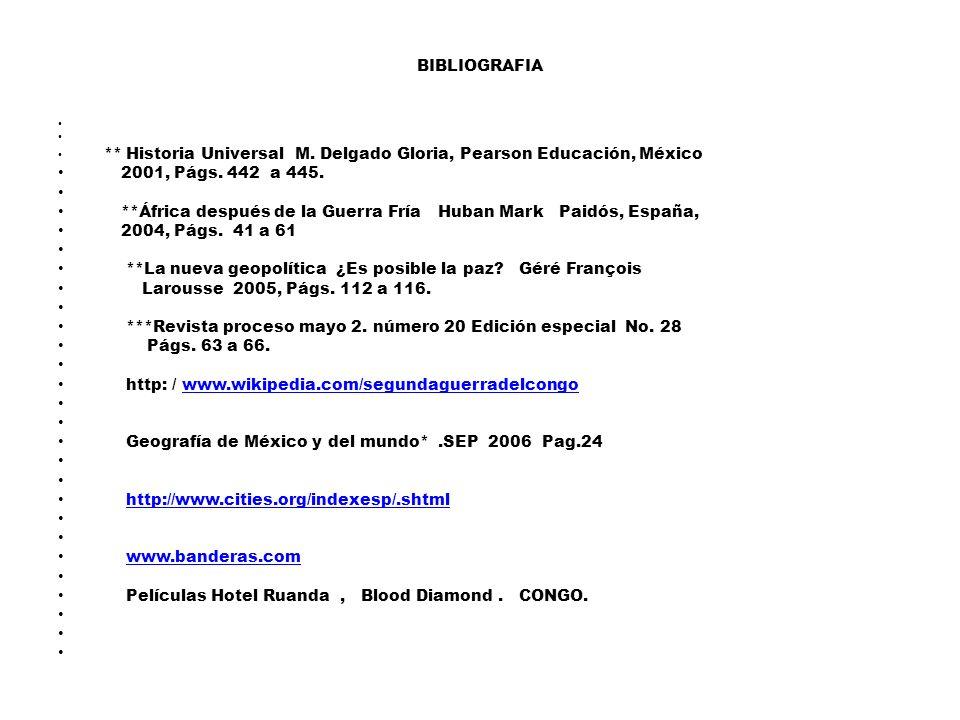 BIBLIOGRAFIA ** Historia Universal M.Delgado Gloria, Pearson Educación, México 2001, Págs.