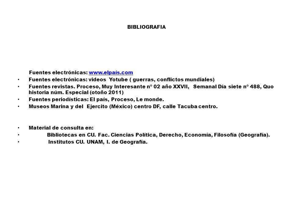 BIBLIOGRAFIA Fuentes electrónicas: www.elpaís.comwww.elpaís.com Fuentes electrónicas: videos Yotube ( guerras, conflictos mundiales) Fuentes revistas.