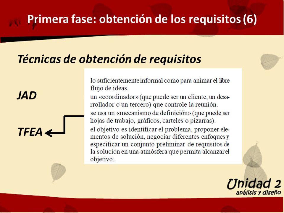 Primera fase: obtención de los requisitos (6) Técnicas de obtención de requisitos JAD TFEA