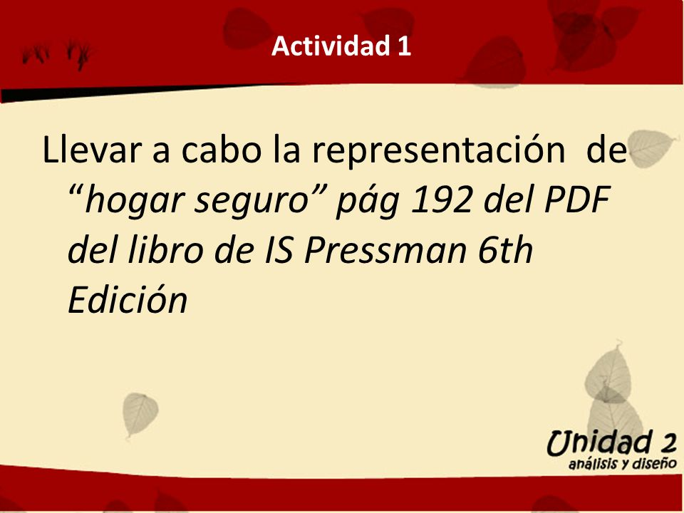 Actividad 1 Llevar a cabo la representación dehogar seguro pág 192 del PDF del libro de IS Pressman 6th Edición