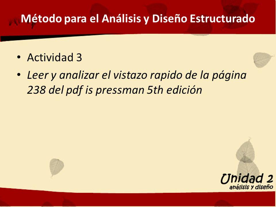 Método para el Análisis y Diseño Estructurado Actividad 3 Leer y analizar el vistazo rapido de la página 238 del pdf is pressman 5th edición