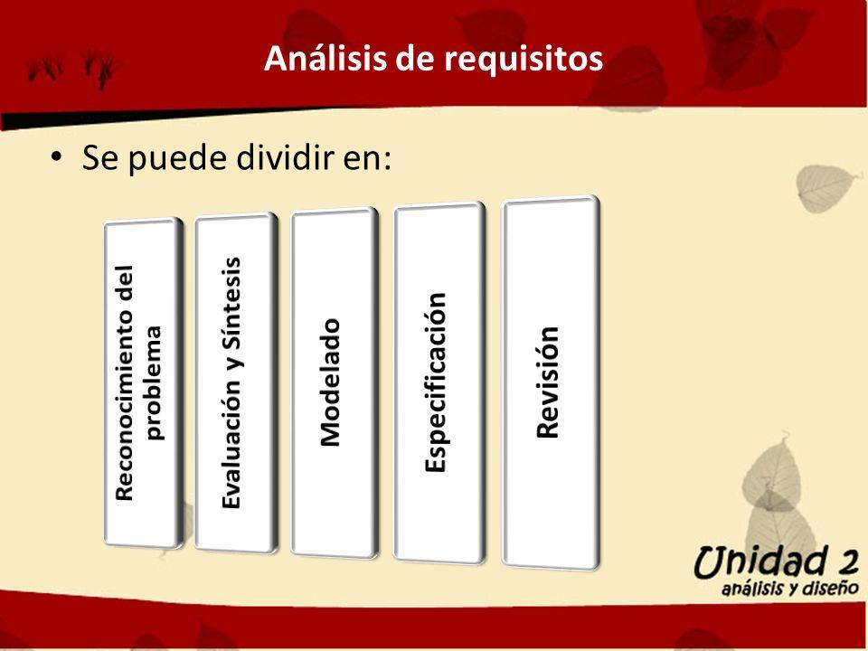 Análisis de requisitos Se puede dividir en: