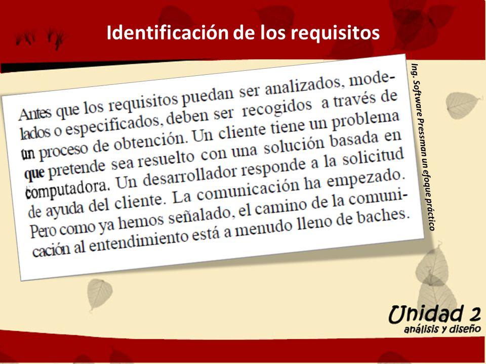 Identificación de los requisitos Ing. Software Pressman un efoque práctico