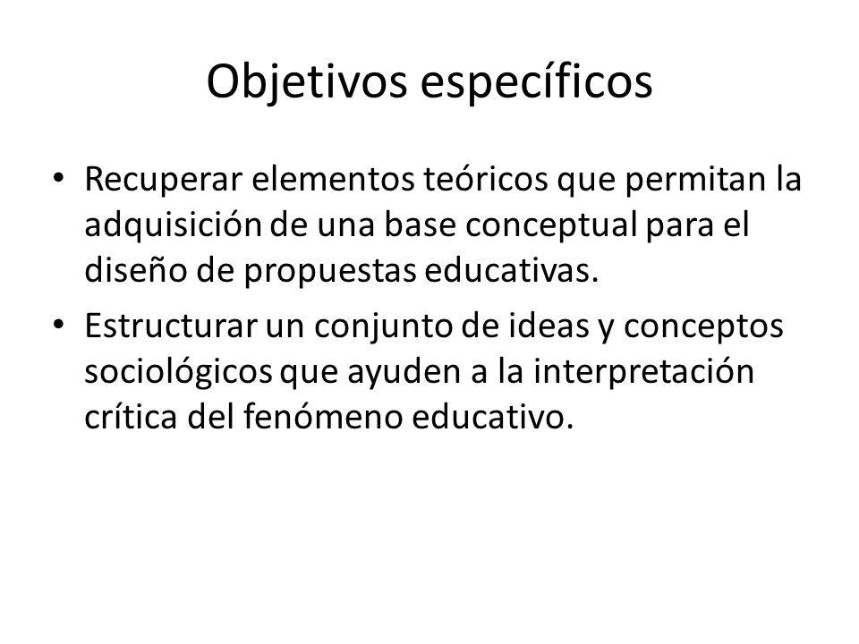 Objetivos específicos Recuperar elementos teóricos que permitan la adquisición de una base conceptual para el diseño de propuestas educativas. Estruct