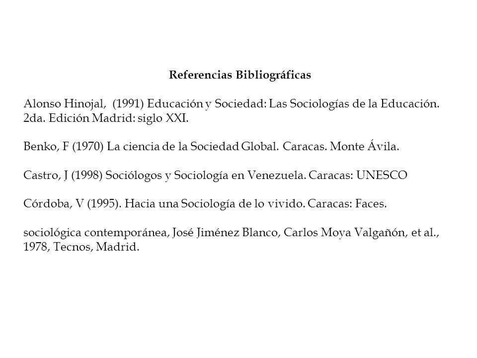 Referencias Bibliográficas Alonso Hinojal, (1991) Educación y Sociedad: Las Sociologías de la Educación. 2da. Edición Madrid: siglo XXI. Benko, F (197