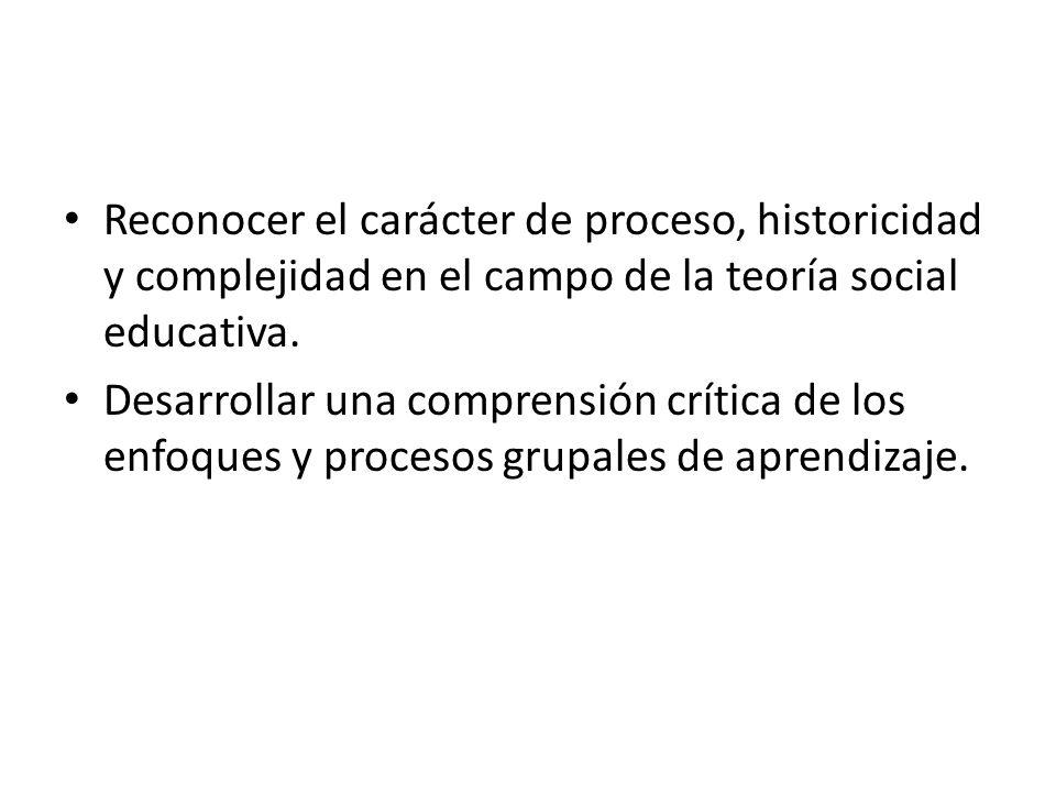 Reconocer el carácter de proceso, historicidad y complejidad en el campo de la teoría social educativa. Desarrollar una comprensión crítica de los enf