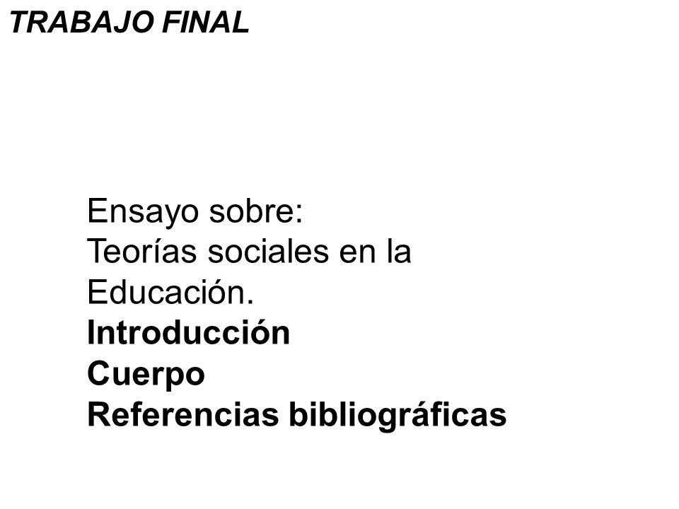 Ensayo sobre: Teorías sociales en la Educación. Introducción Cuerpo Referencias bibliográficas TRABAJO FINAL