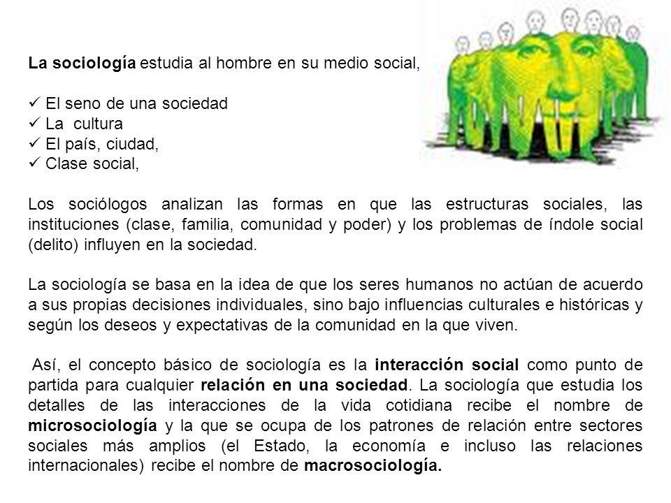 La sociología estudia al hombre en su medio social, El seno de una sociedad La cultura El país, ciudad, Clase social, Los sociólogos analizan las form