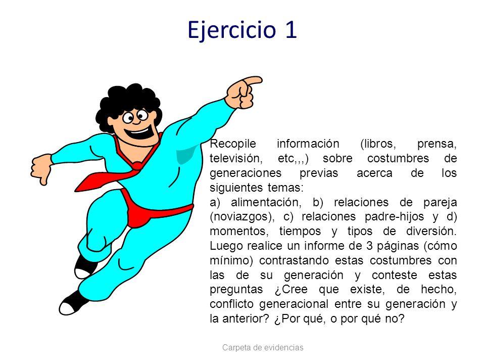 Ejercicio 1 Carpeta de evidencias Recopile información (libros, prensa, televisión, etc,,,) sobre costumbres de generaciones previas acerca de los sig