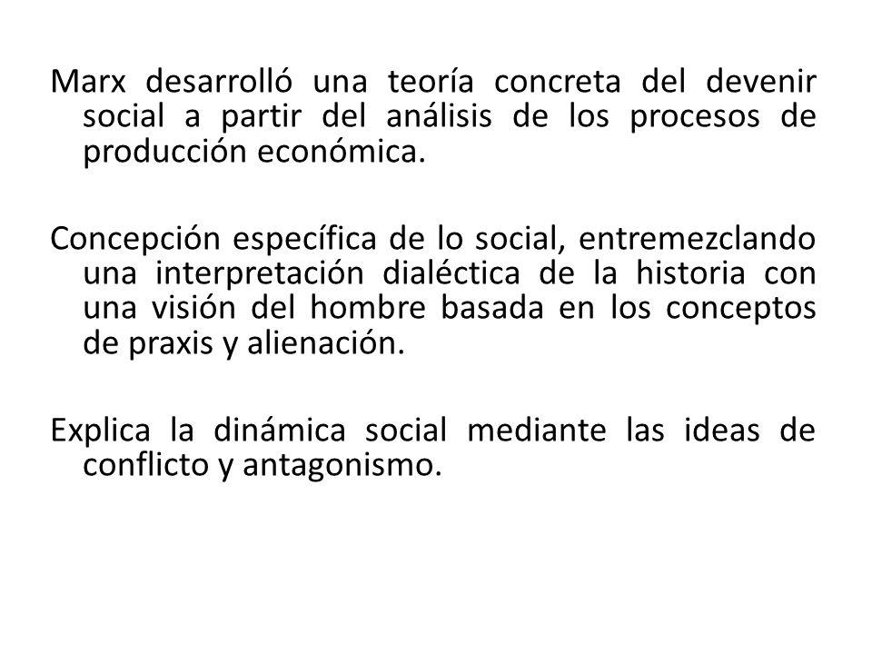 Marx desarrolló una teoría concreta del devenir social a partir del análisis de los procesos de producción económica. Concepción específica de lo soci
